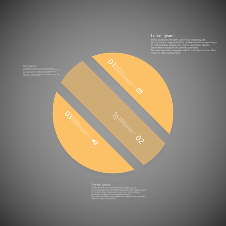 divided: Illustration infographic template with shape of circle. Object askew divided to three parts with orange color. Each part contains Lorem Ipsum text, number and sign. Background is dark.