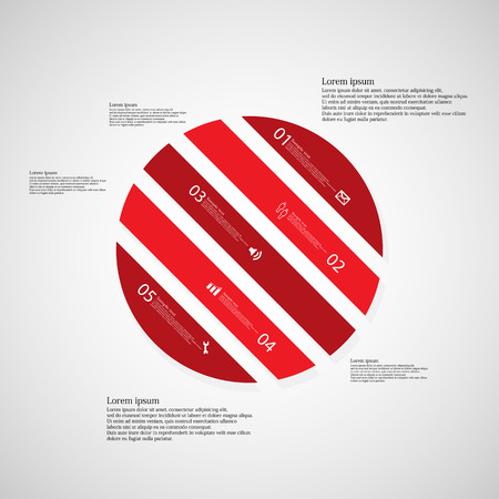 the divided: Illustration infographic template with shape of circle. Object askew divided to five parts with red color. Each part contains Lorem Ipsum text, number and sign. Background is light.
