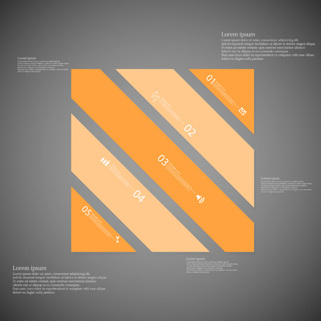 the divided: Illustration infographic template with shape of square rectangle. Object askew divided to five parts with orange color. Each part contains Lorem Ipsum text, number and sign. Background is light dark.
