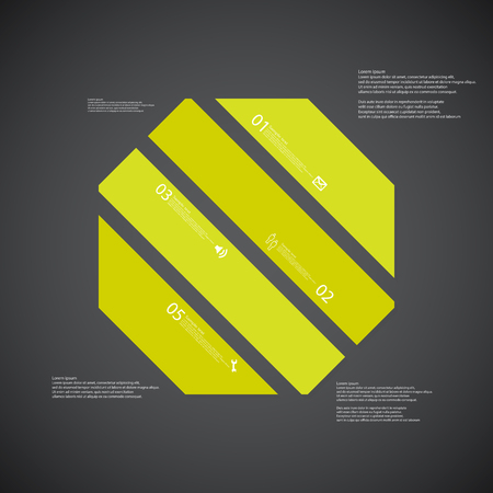 the divided: Illustration infographic template with shape of octagon. Object askew divided to four parts with green colors. Each part contains Lorem Ipsum text, number and sign. Background is dark.