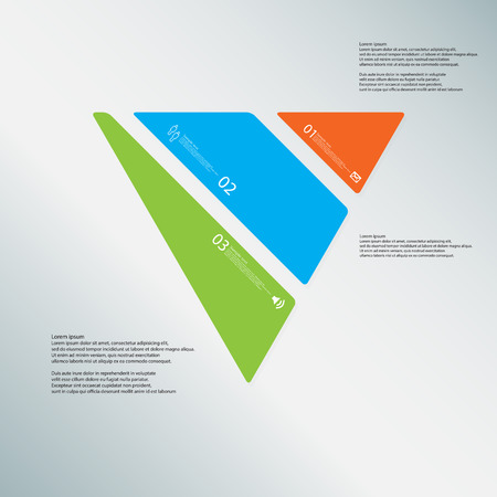 Illustration infographic template with shape of triangle. Object askew divided to three parts with various colors. Each part contains Lorem Ipsum text, number and sign. Background is light-blue.