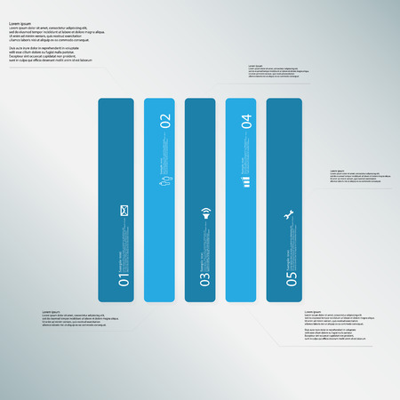 the divided: Illustration infographic template with shape of rectangle. Square shape vertically divided to five parts with blue colors. Each part contains Lorem Ipsum text, number and sign. Background is light-blue.