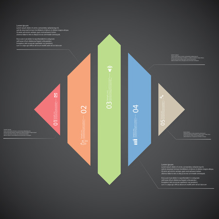 vertically: Illustration infographic template with shape of rhombus. Square shape vertically divided to five parts with various colors. Each part contains Lorem Ipsum text, number and sign. Background is dark.