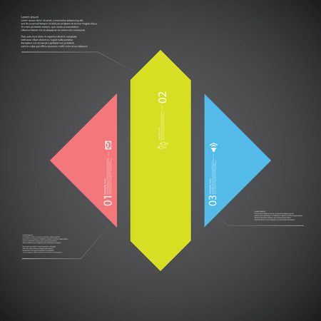 vertically: Illustration infographic template with shape of rhombus. Square shape vertically divided to three parts with various colors. Each part contains Lorem Ipsum text, number and sign. Background is dark. Illustration