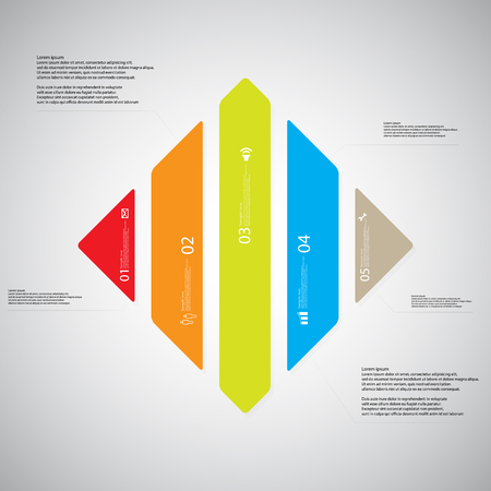 the divided: Illustration infographic template with shape of rhombus. Square shape vertically divided to five parts with various colors. Each part contains Lorem Ipsum text, number and sign. Background is light.