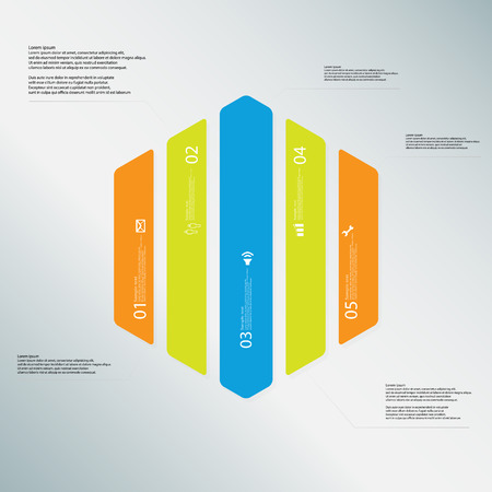 vertically: Illustration infographic template with shape of hexagon. Hexagonal shape vertically divided to five parts with various colors. Each part contains Lorem Ipsum text, number and sign. Background is lightblue. Illustration
