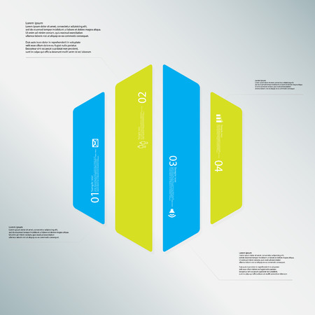 the divided: Illustration infographic template with shape of hexagon. Hexagonal shape vertically divided to four parts with various colors. Each part contains Lorem Ipsum text, number and sign. Background is lightblue.