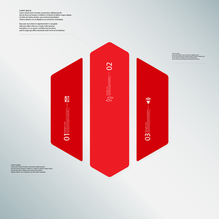 vertically: Illustration infographic template with shape of hexagon. Hexagonal shape vertically divided to three parts with red colors. Each part contains Lorem Ipsum text, number and sign. Background is lightblue.