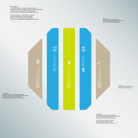 the divided: Illustration infographic template with shape of octagon. Octagonal shape vertically divided to five parts with various colors. Each part contains Lorem Ipsum text, number and sign. Background is lightblue. Illustration