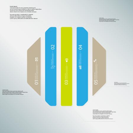 octogonal: Ilustración Plantilla infografía con forma de octágono. forma octogonal divide verticalmente en cinco partes con diferentes colores. Cada parte contiene Lorem Ipsum texto, número y signo. El fondo es azul claro.