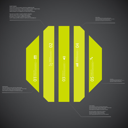 octogonal: Illustration infographic template with shape of octagon. Octagonal shape vertically divided to five parts with green colors. Each part contains Lorem Ipsum text, number and sign. Background is dark.