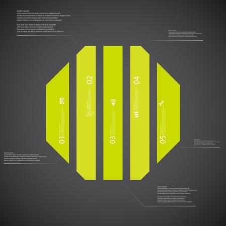 octogonal: Ilustración Plantilla infografía con forma de octágono. forma octogonal divide verticalmente en cinco partes con colores verdes. Cada parte contiene Lorem Ipsum texto, número y signo. El fondo es oscuro. Vectores
