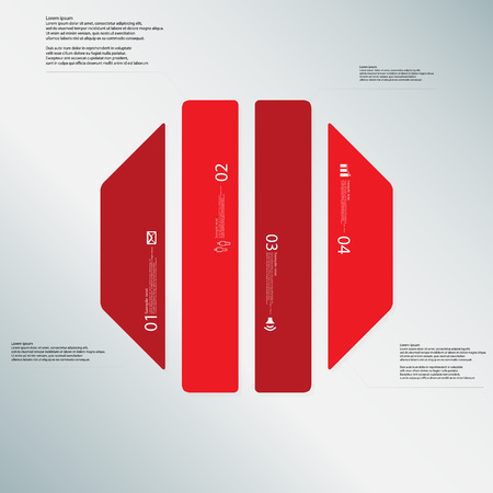 octagonal: Illustration infographic template with shape of octagon. Octagonal shape vertically divided to four parts with red colors. Each part contains Lorem Ipsum text, number and sign. Background is lightblue.