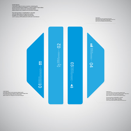 octogonal: Illustration infographic template with shape of octagon. Octagonal shape vertically divided to four parts with blue colors. Each part contains Lorem Ipsum text, number and sign. Background is light. Vectores