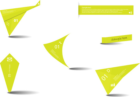 Illustration template with set of various graphic elements. Color of items is light green. Each contains sample text with number and simple sign and is created by different shape.