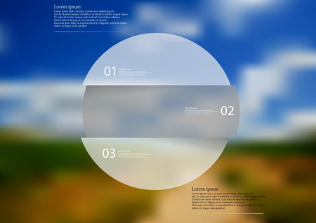 Illustration infographic template with rounded motif, horizontally divided to three grey pieces. Each item contains number and text. Background is created by blurred photo with nature motif.