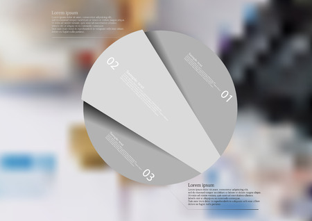 Illustration infographic template with rounded motif, randomly divided to three grey pieces. Each item contains number and text. Background is created by blurred photo with financial motif. Illustration