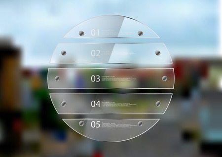crossroad: Illustration infographic template. Circle created by five transparent glass sheets with reflection. Rounded motif placed on blurred photo of town sceene with crossroad in the city.