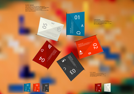 ludo: Illustration infographic template. Five folded paper sheets with various colors with sample text, simple sign and number. Motif is placed on blurred photo of ludo game with dices. Illustration