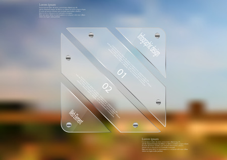 Illustration infographic template with motif of glass rectangle askew divided to four sections. Blurred photo with natural motif is used as background blue cloudy sky and field. Illustration