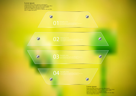 horizontally: Illustration infographic template with motif of glass hexagon horizontally divided to four sections. Blurred photo with natural motif is used as background with two green poppy plants.