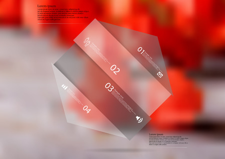 Illustration infographic template with motif of hexagon askew divided to four color sections. Blurred photo with natural motif is used as background with many red blooms of physalis flower.