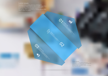 Illustration infographic template with motif of hexagon askew divided to three blue sections. Blurred photo with financial motif is used as background with few charts, coins and calculator.