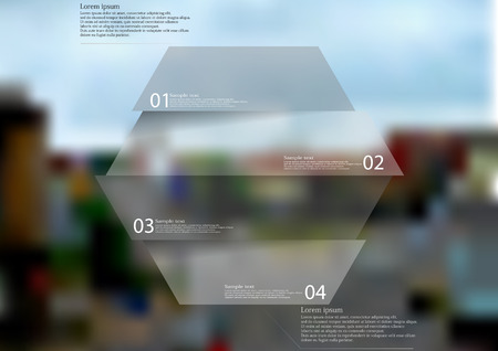 Illustration infographic template with motif of hexagon horizontally divided to four grey sections. Blurred photo with crossroad motif is used as background with streets in the town. Illustration