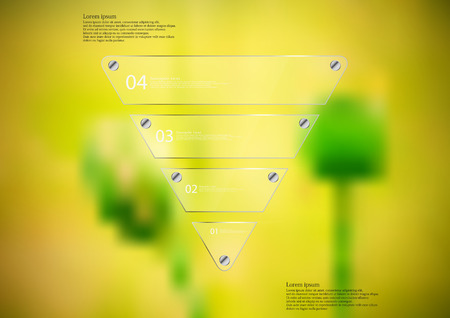 Illustration infographic template with motif of glass triangle horizontally divided to five sections. Blurred photo with natural motif is used as background with couple of green poppy blooms.
