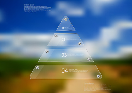 Illustration infographic template with motif of glass triangle horizontally divided to four sections. Blurred photo with natural motif is used as background with path between fields.