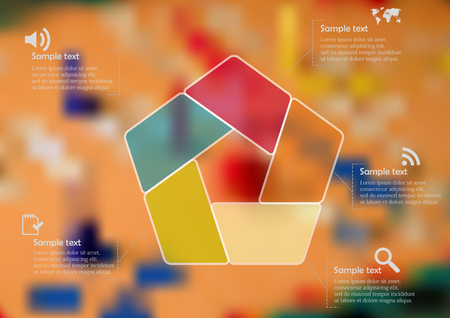 ludo: Illustration infographic template with motif of color semi-transparent pentagon divided to five sections. Blurred photo with Ludo game motif board is used as background. Illustration