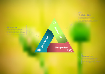 Illustration infographic template with motif of color triangle divided to three sections with simple signs. Blurred photo with natural motif of green poppy flowers  plants is used as background.