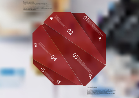 Illustration infographic template with motif of red octagon randomly divided to five sections with simple signs. Blurred photo with financial motif (coins, calculator, charts) is used as background.