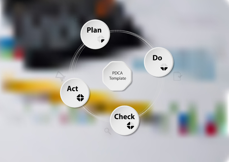 Illustration infographic template with motif of PDCA method consists of four paper circles with signs. Blurred photo with financial motif (calculator, charts, pen) is used as background.