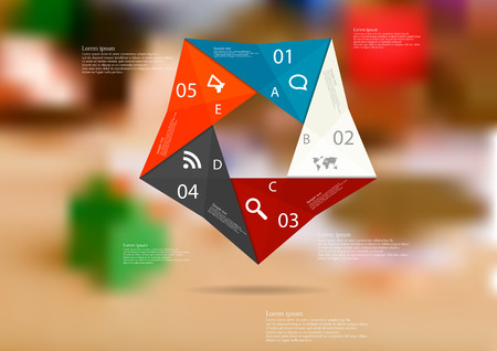 Illustration infographic template with motif of color origami pentagon consists of five sections with simple signs. Blurred photo with financial motif (coins, money estate items) is used as background. Illustration