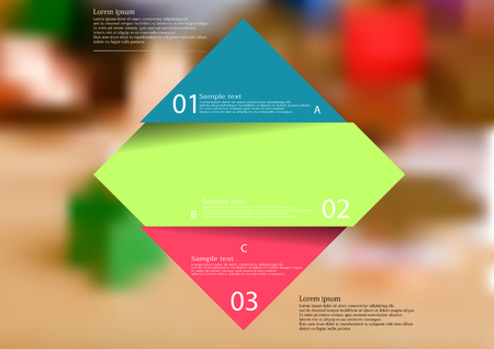 Illustration infographic template with motif of color rhombus horizontally divided to three sections with simple signs. Blurred photo with financial motif with coins and money is used as background. Illustration