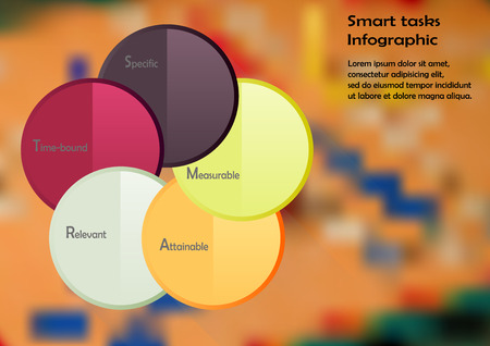 ludo: Illustration infographic template with motif of color circles with method SMART tasks. Blurred photo with ludo game motif is used as background.