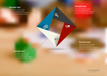 Illustration infographic template with motif of color rectangle square origami consists of four parts with sample text and simple sign. Blurred photo with financial motif is used as background.
