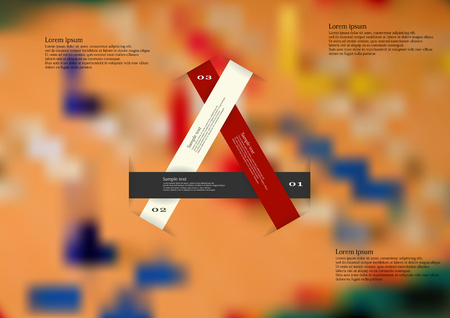ludo: Illustration infographic template with motif of three short color ribbons which creates a triangle. Blurred photo with motif of ludo game board is used as background.