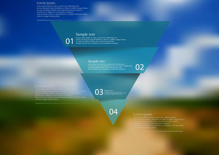 Illustration infographic template with motif of blue triangle horizontally divided to four sections. Blurred photo with natural motif of field and cloudy sky is used as background.