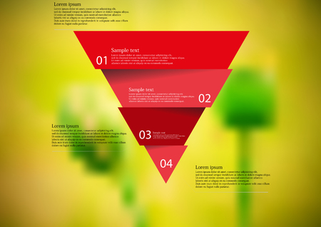 horizontally: Illustration infographic template with motif of red triangle horizontally divided to four sections. Blurred photo with natural motif of green poppy plants is used as background.