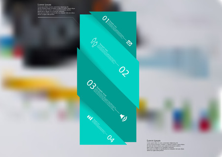 Illustration infographic template with motif of green bar askew divided to four sections. Blurred photo with financial motif with charts and calculator is used as background.
