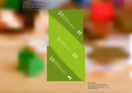 Illustration infographic template with motif of green bar askew divided to three sections. Blurred photo with financial motif with coins and money on board is used as background. Illustration