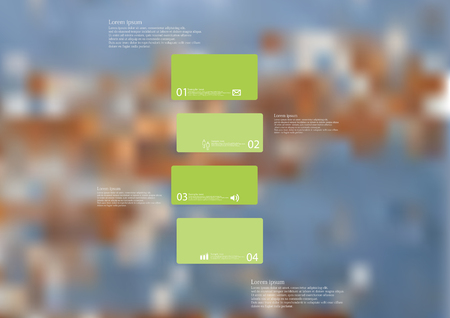 Illustration infographic template with motif of green bar horizontally divided to four standalone sections. Blurred photo with motif worn color texture is used as background.