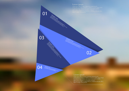 Illustration infographic template with motif of blue triangle randomly divided to four sections. Blurred photo with natural motif of field with cloudy sky is used as background. Illustration
