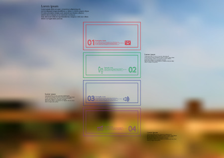 Illustration infographic template with motif of color bar horizontally divided to four standalone sections created by double outlines. Blurred photo with natural landscape motif is used as background. Illustration