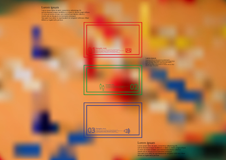 ludo: Illustration infographic template with motif of color bar horizontally divided to three standalone sections created by double outlines. Blurred photo with board for ludo game is used as background.