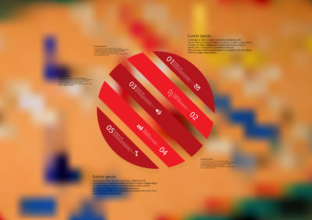 Illustration infographic template with motif of circle askew divided to five red standalone sections. Blurred photo with ludo board motif is used as background. Illustration