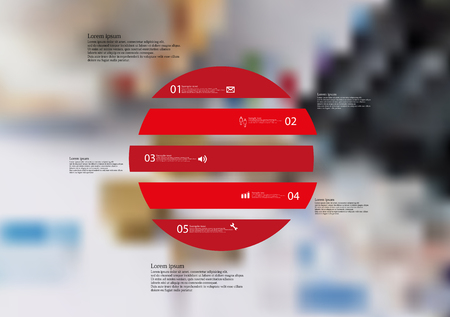 Illustration infographic template with motif of circle horizontally divided to five red standalone sections.