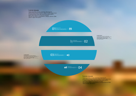 standalone: Illustration infographic template with motif of circle horizontally divided to four blue standalone sections.